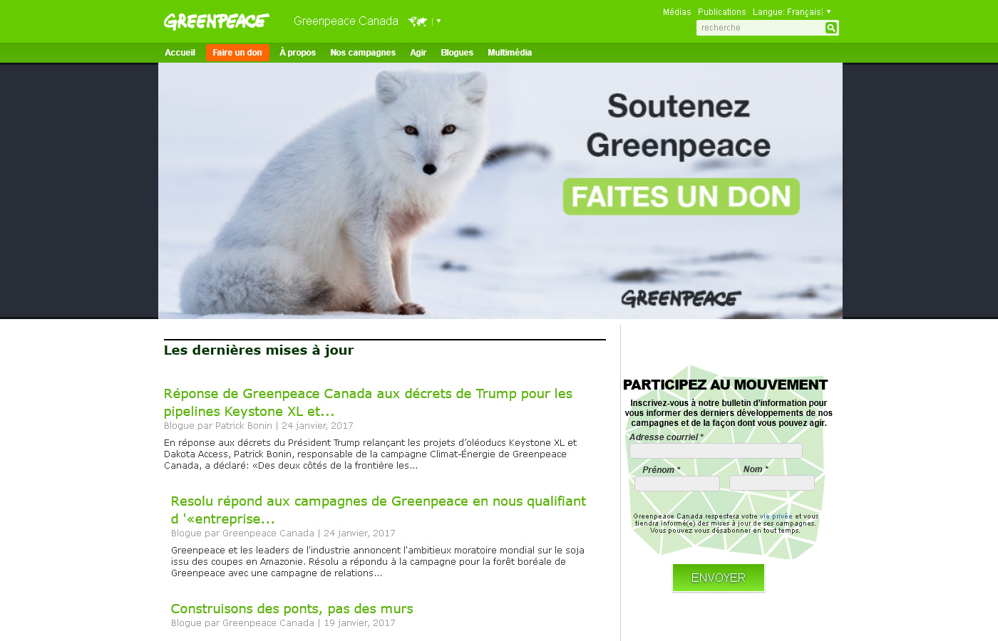 Greenpeace Canada – Page d'accueil