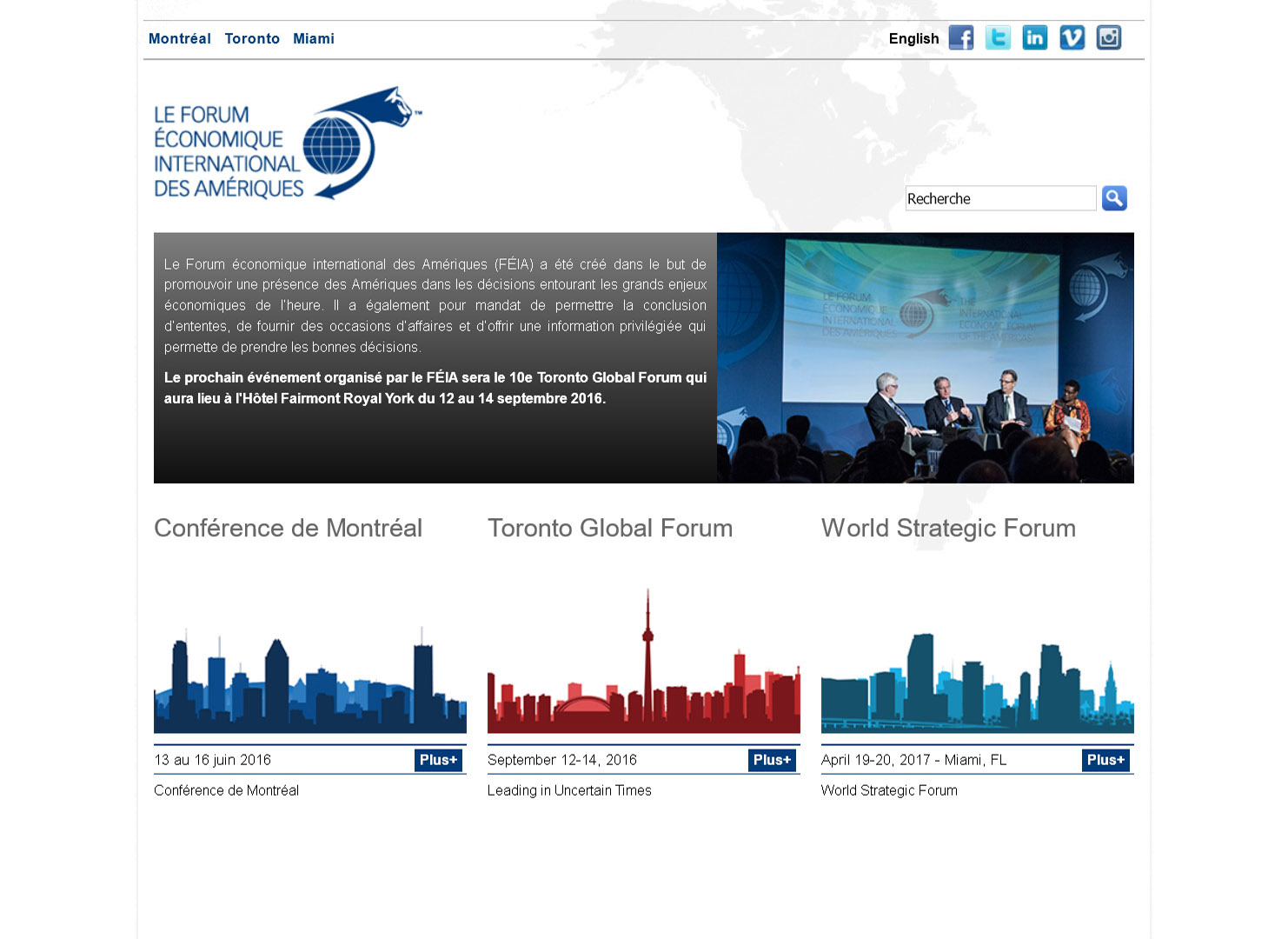 International Economic Forum of the Americas (splash page)