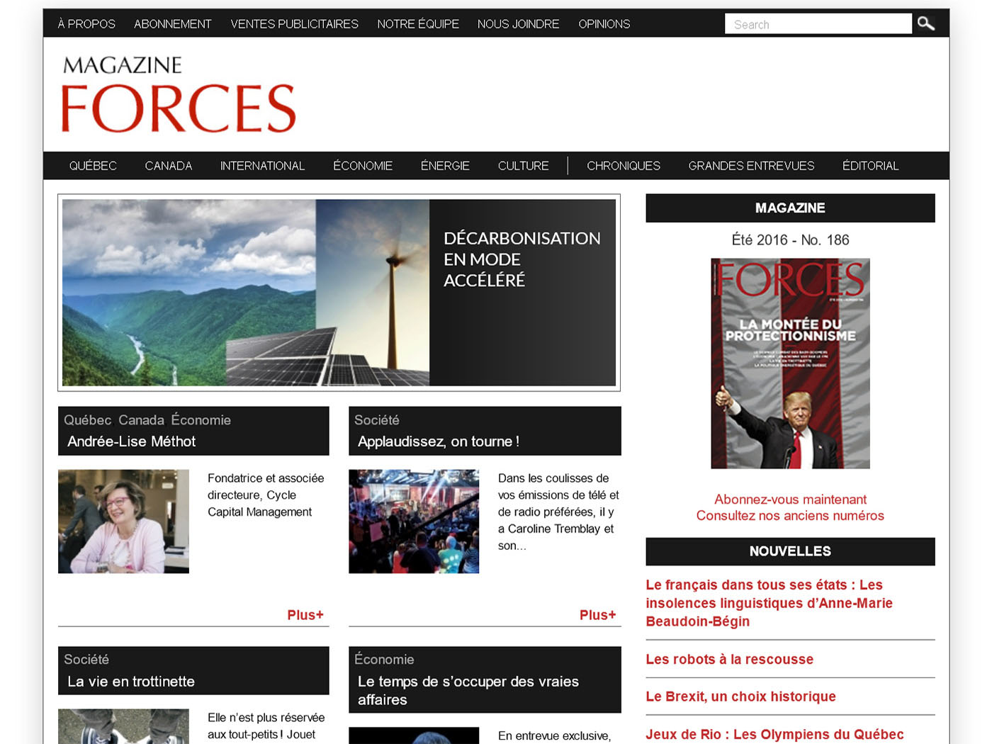Magazine Forces (website home page)